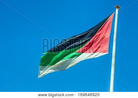 Great Arab Revolt Flag in Aqaba, Jordan is one of the biggest flags in the world and sixth in height