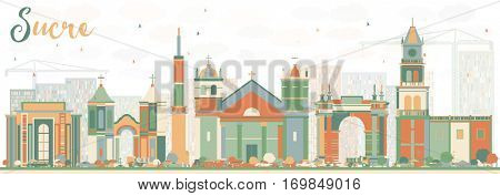Abstract Sucre Skyline with Color Buildings. Vector Illustration. Business Travel and Tourism Concept with Historic Architecture. Image for Presentation Banner Placard and Web Site.