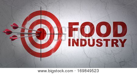 Success Manufacuring concept: arrows hitting the center of target, Red Food Industry on wall background, 3D rendering