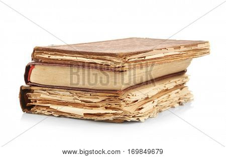 Vintage books isolated on white