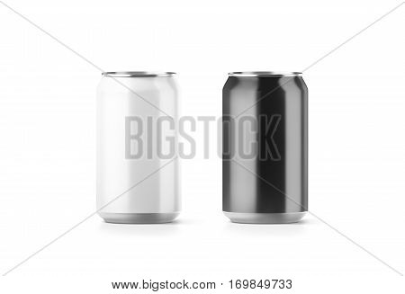 Blank black and white aluminium soda can mockup 3d rendering. Empty beer tin packing mock ups set isolated. Canned drink jar packaging design template. Plain fizzy pop bank package branding.