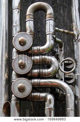 Mechanism of old vintage trumpet macro image