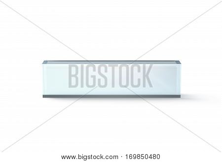 Blank transparent glass desk block mockup front view 3d rendering. Clear name plate design mock up. Empty plastic namplate template isolated on white. Corporate stationery rectangle display