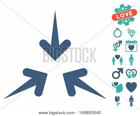 Impact Arrows pictograph with bonus decorative pictures. Vector illustration style is flat rounded iconic cobalt and cyan symbols on white background.