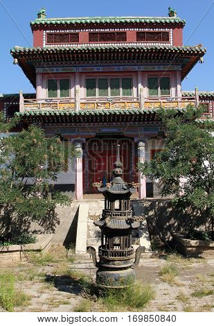 One of the temples of ancient Wusutu Zhao Buddhist Monastery (Ming dynasty) near Hohhot Inner Mongolia northern China