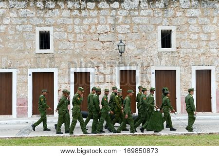 Soldiers Walking In La Cabana Fortress At Havana