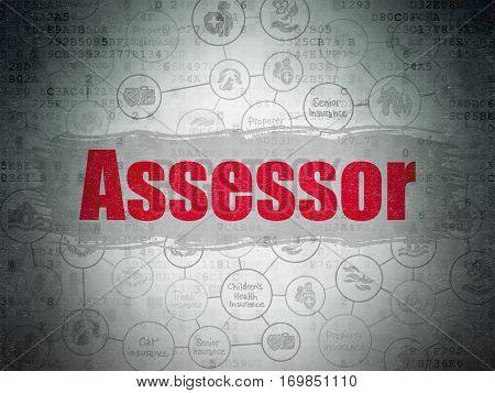 Insurance concept: Painted red text Assessor on Digital Data Paper background with  Scheme Of Hand Drawn Insurance Icons