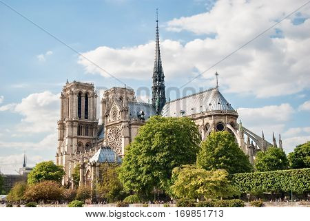 The Cathedral of Notre Dame de Paris against the blue sky, France Spring