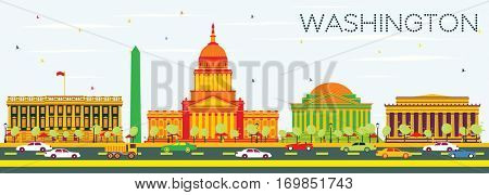 Washington DC Skyline with Color Buildings and Blue Sky. Business Travel and Tourism Concept with Historic Architecture. Image for Presentation Banner Placard and Web Site.