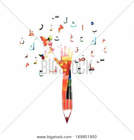 Colorful pencil with human hand and Arabic Islamic calligraphy symbols vector illustration