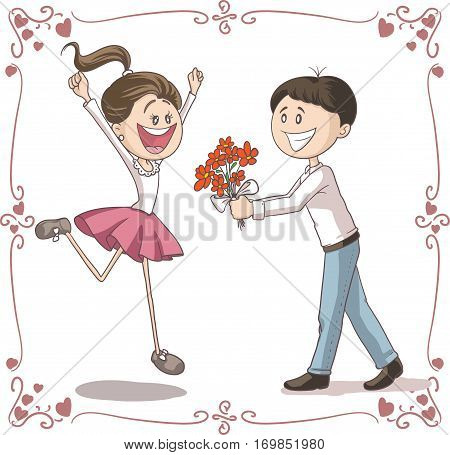 Man Brings Flowers to His Date Vector Cartoon Illustration