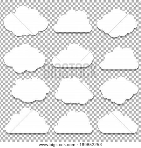 Clouds Big Set Isolated on Transparent Background With Gradient Mesh Vector Illustration