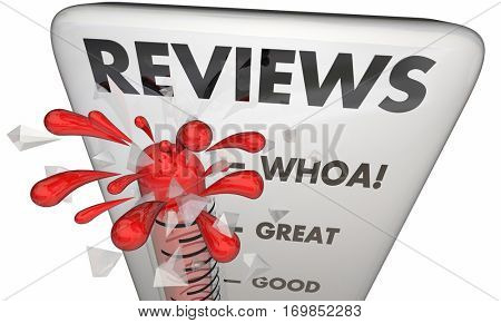 Reviews Feedback Critical Response Thermometer 3d Illustration