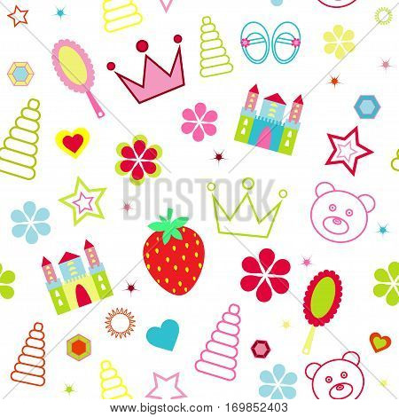 Seamless maiden pattern with crown, comb, strawberries, pyramid, toys, castle vector illustration