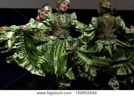 ST. PETERSBURG, RUSSIA - OCTOBER 28, 2016: Dancing group Fantasy performing in the International festival-contest of vocal and choreographic art Autumn Transformation