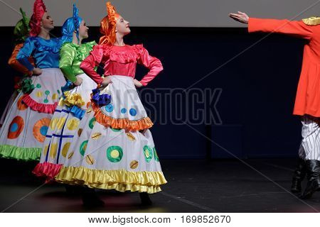 ST. PETERSBURG, RUSSIA - OCTOBER 28, 2016: Show ballet Rendezvous performing in the International festival-contest of vocal and choreographic art Autumn Transformation