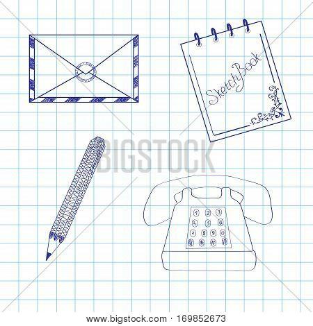 Phone, envelope, pen, sketchbook, drawn in a notebook