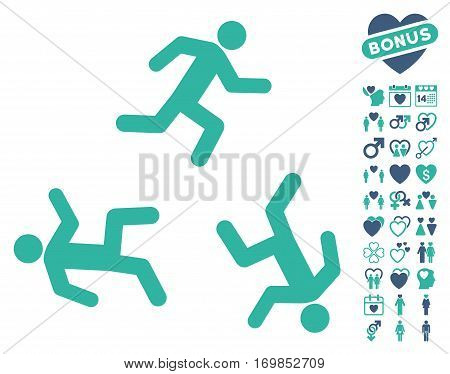 Running Men pictograph with bonus lovely graphic icons. Vector illustration style is flat rounded iconic cobalt and cyan symbols on white background.