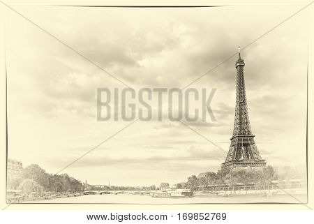 Vintage The Eiffel Tower and the river Seine at sunset sky background in Paris in the spring