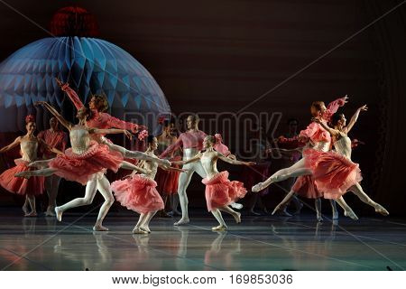 ST. PETERSBURG, RUSSIA - DECEMBER 16, 2015: Actors in a scene of the ballet The Nutcracker on the stage of Mikhailovsky theater during the closing ceremony of 4th St. Petersburg Cultural Forum