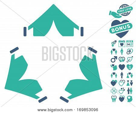 Tent Camp pictograph with bonus passion images. Vector illustration style is flat rounded iconic cobalt and cyan symbols on white background.