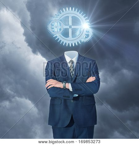 Businessman with gear head concept design illustration banner
