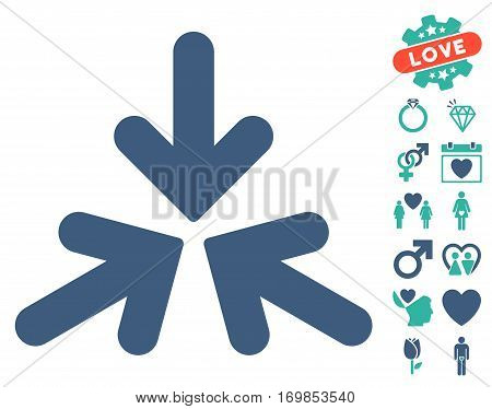 Triple Collide Arrows icon with bonus romantic icon set. Vector illustration style is flat rounded iconic cobalt and cyan symbols on white background.