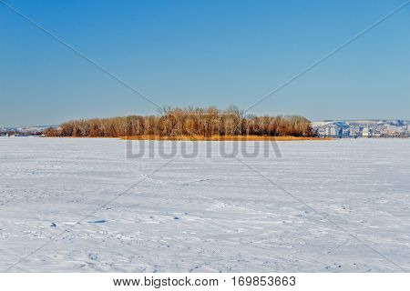 The Frozen River With A Dry Cane On The Island