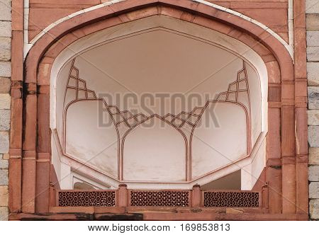 DELHI, INDIA - FEBRUARY 13: Architecture detail inside the Humayun's Tomb, built by Hamida Banu Begun in 1565-72, Delhi, India on February 13, 2016.