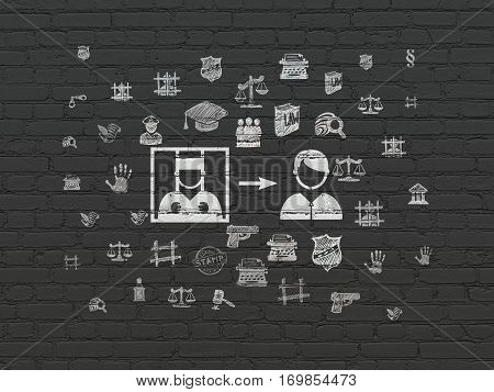 Law concept: Painted white Criminal Freed icon on Black Brick wall background with  Hand Drawn Law Icons