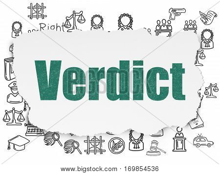 Law concept: Painted green text Verdict on Torn Paper background with  Hand Drawn Law Icons