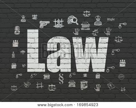 Law concept: Painted white text Law on Black Brick wall background with  Hand Drawn Law Icons