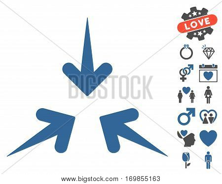 Impact Arrows pictograph with bonus decoration clip art. Vector illustration style is flat rounded iconic cobalt and gray symbols on white background.