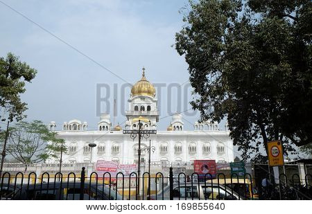 DELHI, INDIA - FEBRUARY 13: Gurudwara Bangla Sahib is one of the most prominent Sikh gurdwara, in Delhi and known for its association with the eighth Sikh Guru, Guru Har Krishan on February 13, 2016.