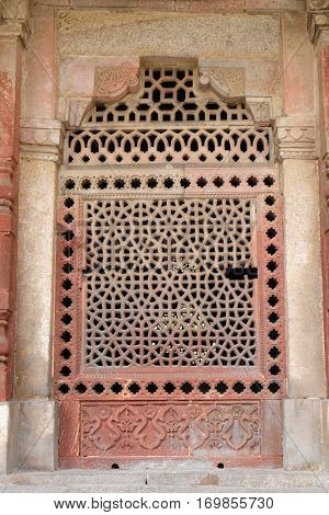 DELHI, INDIA - FEBRUARY 13: Marble carved window at Isa Khan's Tomb. Humayun's Tomb complex, Delhi, India on February 13, 2016