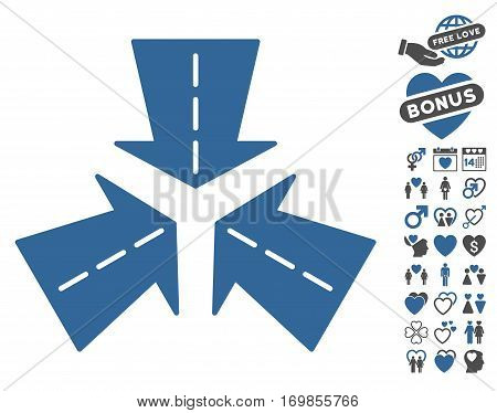 Merge Directions icon with bonus valentine images. Vector illustration style is flat rounded iconic cobalt and gray symbols on white background.