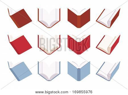 Set of open empty books in red and blue color, blank sheets, symbol of knowledge, education, paper source of information different positions isolated against white background, pages for copyspace