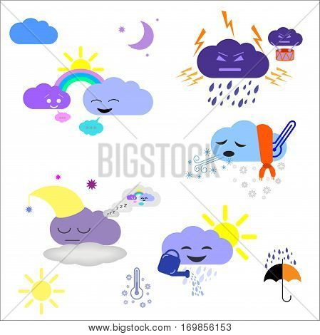 Cute weather and sky elements moon sun rain and clouds vector illustration for kids isolated design elements for children. Stickers labels icons infographics for kids