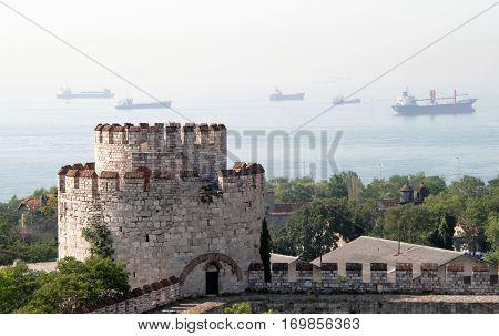 Walls of Yedikule Zindanlari (Fortress of the Seven Towers) Fatih Istanbul Turkey