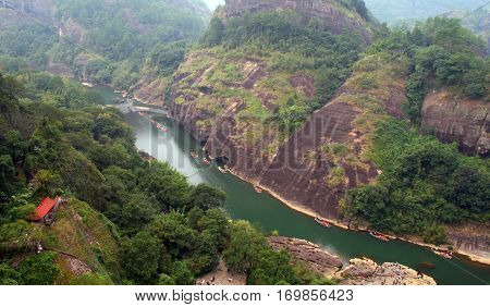 Scenic Landscape Of Wuyi Mountains Peaks And The River Of Nine Bends, Fujian Province, China