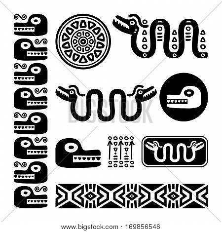 Aztec animals, Mayan snake, ancient Mexican design set