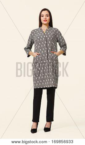 Full Body Business Woman In Coat