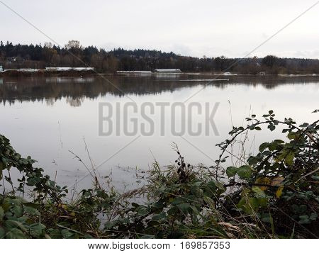 Snoqualmie river valley underwater during flood - near Duvall WA
