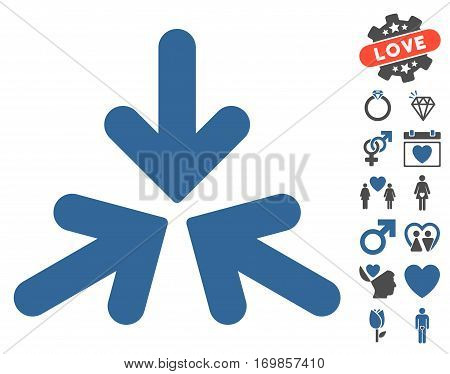 Triple Collide Arrows icon with bonus marriage symbols. Vector illustration style is flat rounded iconic cobalt and gray symbols on white background.