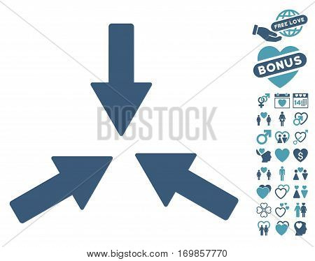 Collide 3 Arrows icon with bonus marriage clip art. Vector illustration style is flat rounded iconic cyan and blue symbols on white background.
