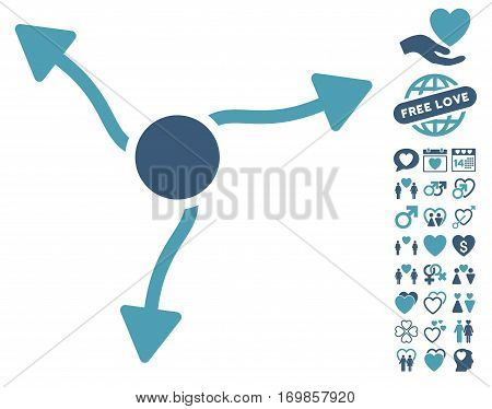 Curve Arrows icon with bonus passion pictograph collection. Vector illustration style is flat rounded iconic cyan and blue symbols on white background.