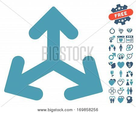 Direction Variants pictograph with bonus marriage symbols. Vector illustration style is flat rounded iconic cyan and blue symbols on white background.