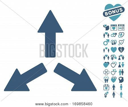 Expand Arrows pictograph with bonus romantic pictograms. Vector illustration style is flat rounded iconic cyan and blue symbols on white background.