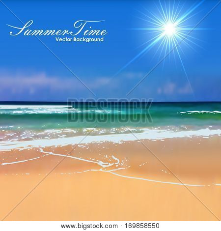 Summertime beach with bright sun blurred vector background. Gradient mesh is used.