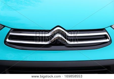 PILSEN CZECH REPUBLIC - DECEMBER 22, 2016: Citroen's new redesigned logo on small car Citroen C1 . The French car manufacturer present in fifty-seven countries.